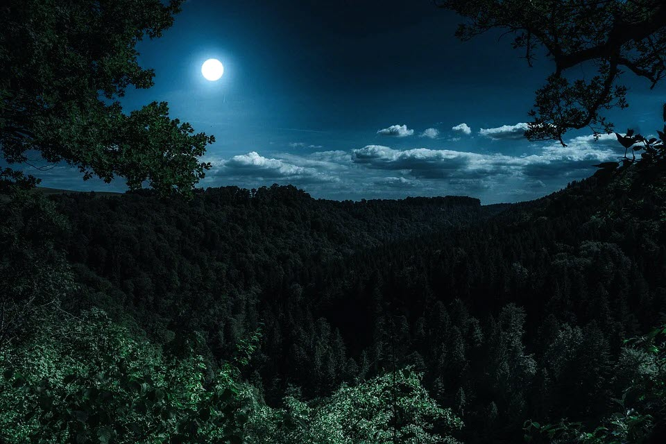 Image of a full moon appearing in the sky