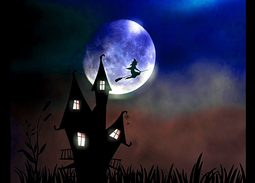 A description image of a witch flying on a broom from a creepy castle in the middle of the night with a big moon silhouette