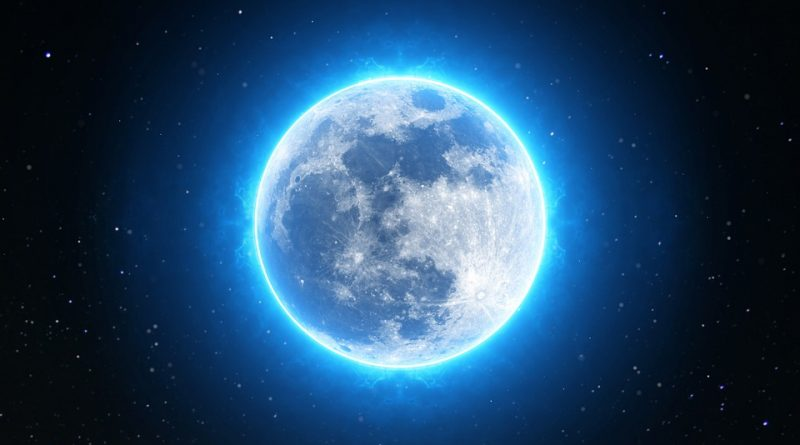 Image of a rare and unseen blue moon which might be edited for Halloween 2020